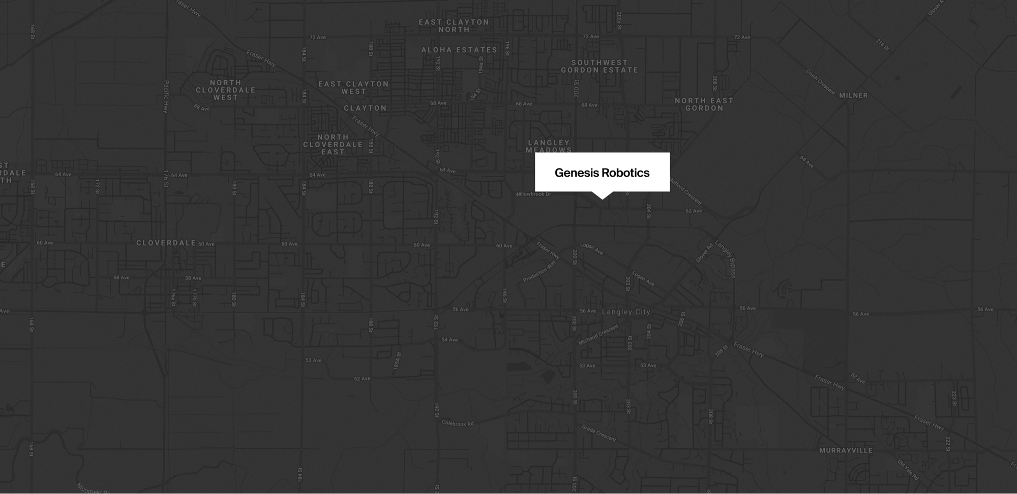 Map of where Genesis Robotics and Motion Technologies is located on in Langley, 6279 202 St, British Colubmia.